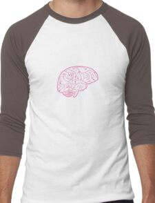Human brain illustration. Cognitive science Men's Baseball ¾ T-Shirt