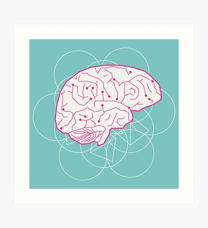 Human brain illustration. Cognitive science Art Print