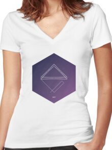 Geometric shape. Hipster triangles. Cosmos Women's Fitted V-Neck T-Shirt