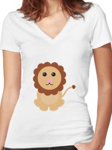 Cute Lion Women's Fitted V-Neck T-Shirt