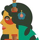 HAWAIIAN HULA GIRL FLAT DESIGN TATOO by JamesShannon