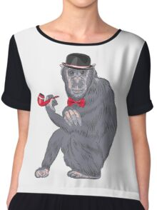Hipster monkey with tobacco pipe Chiffon Top