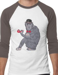 Hipster monkey with tobacco pipe Men's Baseball ¾ T-Shirt