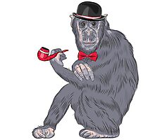 Hipster monkey with tobacco pipe Photographic Print