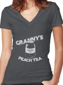 Granny's Peach Tea White Women's Fitted V-Neck T-Shirt
