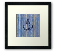 Aged Blue Paint Pealing Wood Planks Pattern Framed Print