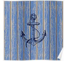 Aged Blue Paint Pealing Wood Planks Pattern Poster