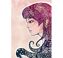 Girl with Decorative Hair Photographic Print