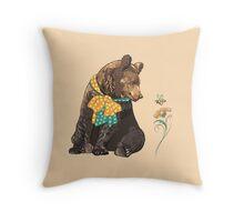 Cartoon hipster bear  Throw Pillow