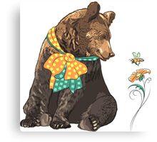 Cartoon hipster bear  Canvas Print