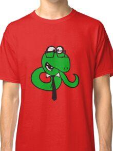 glasses snake bookworm nerd geek ties hornbrille smart funny cool comic cartoon Classic T-Shirt