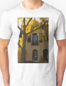 Yellow on Yellow - Golden Ginkgo Biloba and an Elegant Facade Unisex T-Shirt