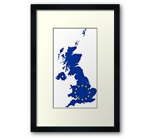 European Union Flag Map of United Kingdom Framed Print