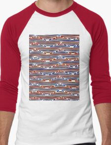 Abstract Line Art Energetic Pattern Men's Baseball ¾ T-Shirt