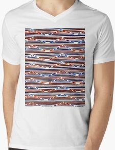 Abstract Line Art Energetic Pattern Mens V-Neck T-Shirt