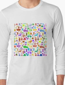 Shopping icons pattern with theme for sale Long Sleeve T-Shirt