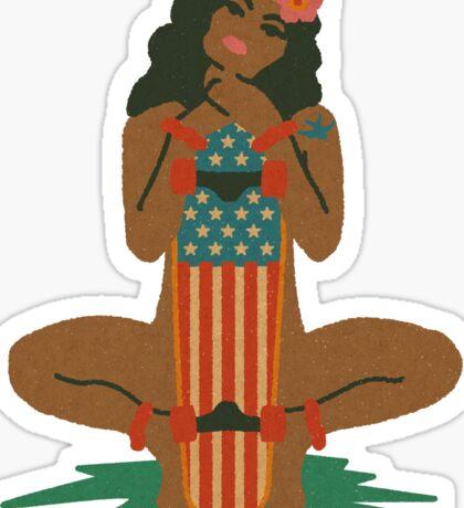 Hawaiian Hula Girl Skater Sticker
