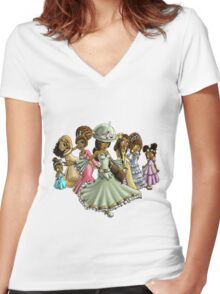 7 Princesses Women's Fitted V-Neck T-Shirt