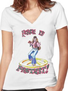 Peace Hippie Girl Women's Fitted V-Neck T-Shirt