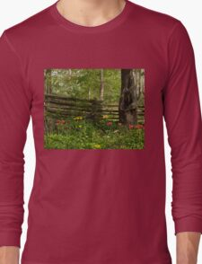 Colorful Tulips and a Rustic Fence - Enjoying the Beauty of Spring Long Sleeve T-Shirt