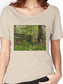 Colorful Tulips and a Rustic Fence - Enjoying the Beauty of Spring Women's Relaxed Fit T-Shirt