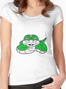 angry dangerous snake constrictor comic cartoon design Women's Fitted Scoop T-Shirt