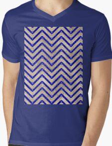 Gold And Blue Geometric Pattern Mens V-Neck T-Shirt