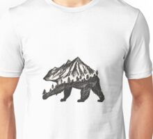 Pen Drawing of a Bear/ Nature Scene Unisex T-Shirt