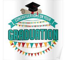 Graduation mortarboard and diploma design. Poster