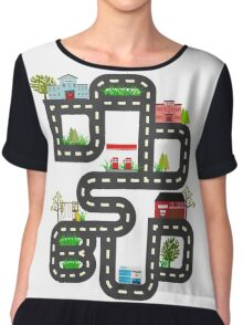 Dad's Bud Road Map Playtime Design Chiffon Top