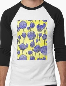 Energetic Flower Pattern, yellow and blue Men's Baseball ¾ T-Shirt