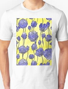 Energetic Flower Pattern, yellow and blue T-Shirt