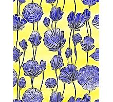 Energetic Flower Pattern, yellow and blue Photographic Print