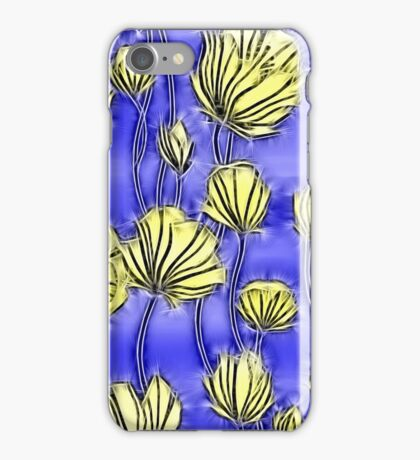 Energetic Flower Pattern, yellow and blue 2 iPhone Case/Skin