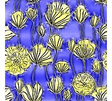 Energetic Flower Pattern, yellow and blue 2 Photographic Print