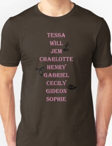Infernal Devices Character Names Unisex T-Shirt