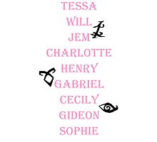 Infernal Devices Character Names Photographic Print