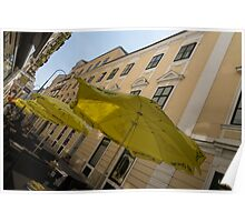 Vienna Street Life - Cheery Yellow Umbrellas at an Outdoor Cafe Poster