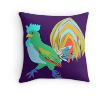 Feathery Noisemaker in Scream Green Throw Pillow