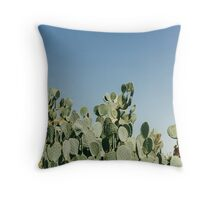 Large Prickly Pear Cactus against Blue Sky Throw Pillow