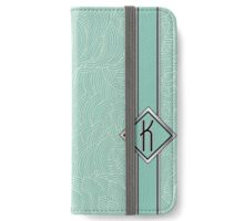 1920s Blue Deco Swing with Monogram letter K iPhone Wallet/Case/Skin