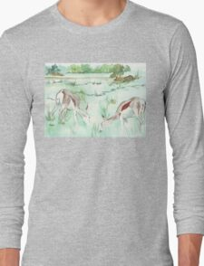 Sketching in the Game Reserve - Springbuck Long Sleeve T-Shirt