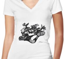 The Silhouette and the i (eye?) Women's Fitted V-Neck T-Shirt