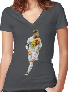 Sergio Ramos - Spain Render Women's Fitted V-Neck T-Shirt