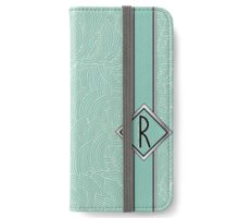 1920s Blue Deco Swing with Monogram letter R iPhone Wallet/Case/Skin