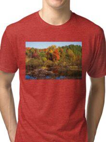 Autumn Beaver Pond Reflections Tri-blend T-Shirt