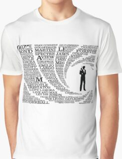 Iconic James Bond Typography Art Graphic T-Shirt