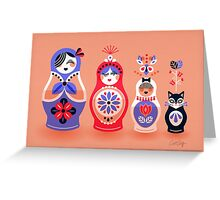 Russian Nesting Dolls – Pink & Lavender Greeting Card