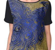 Blue Peacock with Mosaic Background  Chiffon Top