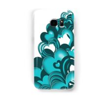 Turquoise Falling Hearts Samsung Galaxy Case/Skin